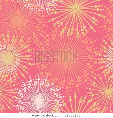 Seamless pattern with abstract  dehlia flowers. Vector illustration.