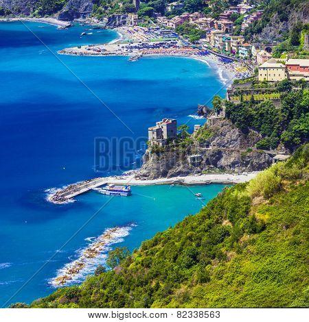view of Monterosso al mare, Ligurian coast. Cinque terre, Italy