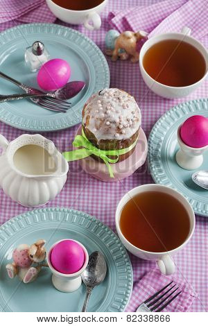 Traditional Easter Breakfast With Easter Cake And Eggs