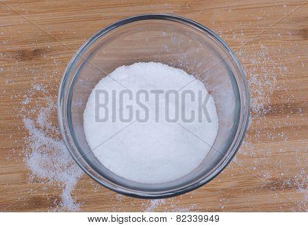 Salt in a clear bowl