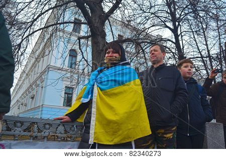 KIEV, UKRAINE - February 2, 2015: Ukrainian nationalists of Battalion \\\
