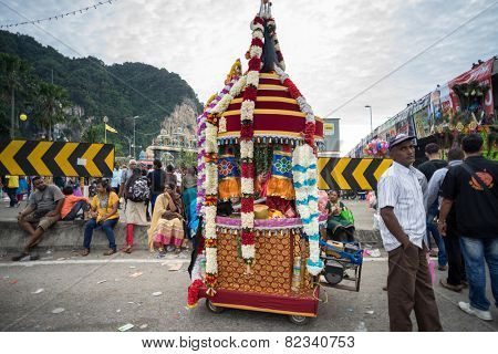 KUALA LUMPUR, MALAYSIA - FEBRUARY 3, 2015: Hundreds of thousands of Hindu devotees come to Batu Caves temple for the Thaipusam prayers, a day of thanks giving and devotion to Lord Muruga.