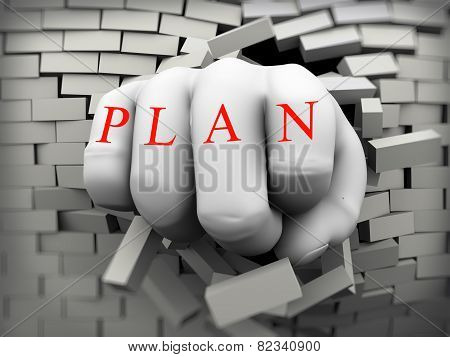 3D Plan Fist Burst Through Brick Wall