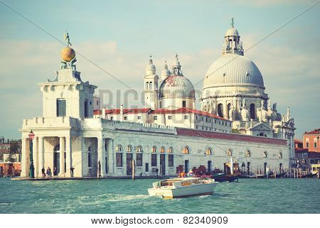 Santa Maria della Salute church on Grand Canal in Venice, Italy. Instagram style filtred image