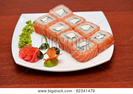 Roll with cream cheese and salmon fish