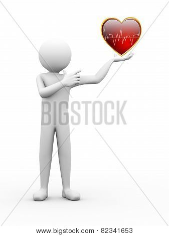 3D Man Finger Pointing To Heart Illustration