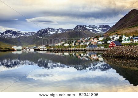 Small fishing town of Siglufjordur on the northern coast of Iceland