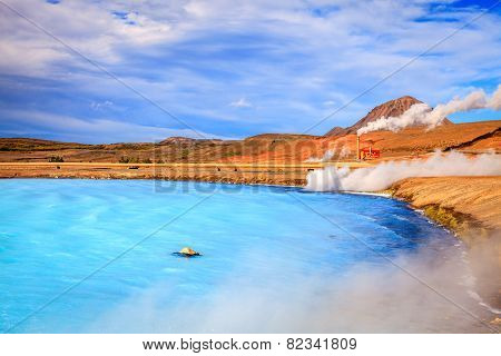 Geothermal power station and hot water lagoon in Iceland