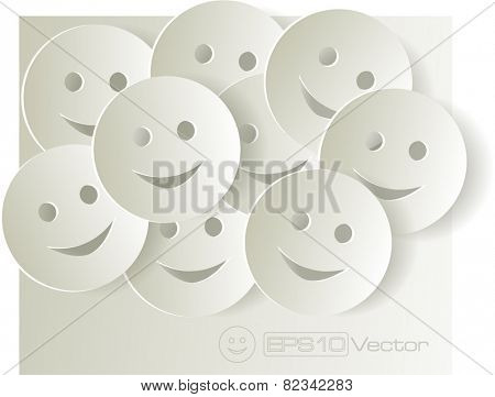 Paper cut out smiley faces on light background. Vector illustration