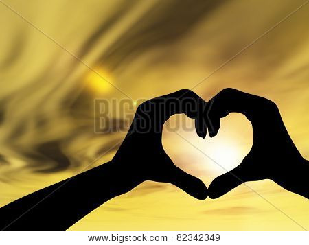 Concept or conceptual heart shape or symbol of human or woman and man hand silhouette over sky at sunset background, metaphor to love, valentine, romantic, couple, wedding, romance, summer or sunrise