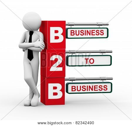 3D Businessman With B2B Signpost Illustration