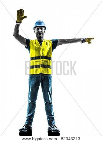 one construction worker stop gesture detour silhouette isolated in white background
