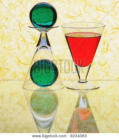 Wineglasses With Green Sheres