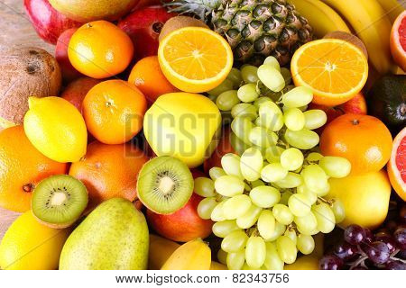 Assortment of exotic fruits close-up