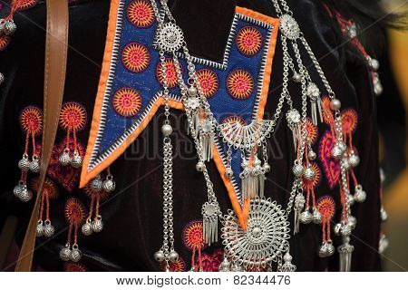 traditional clothes and silver jewelery of Muser hill tribe.