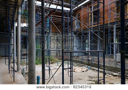 Suphanburi, Thailand - December 3, 2014: Courtyard Of House Under Construction