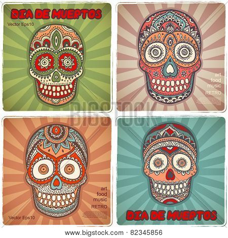 Vintage ethnic hand drawn human skull banners