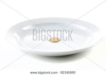Coin on plate isolated on white