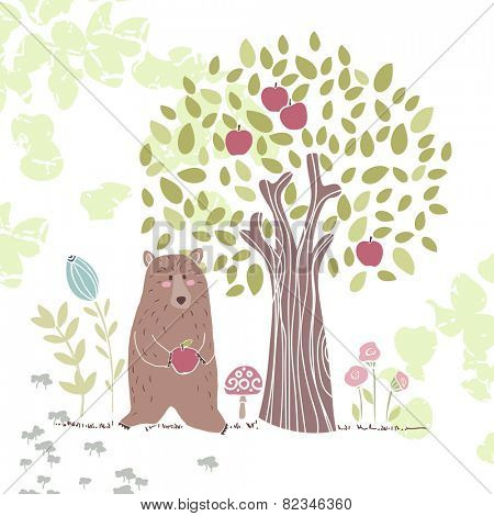 forest theme, bear with apple