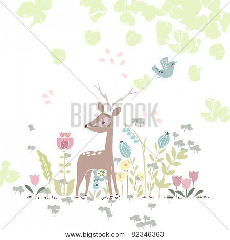 forest theme card with deer in flowers