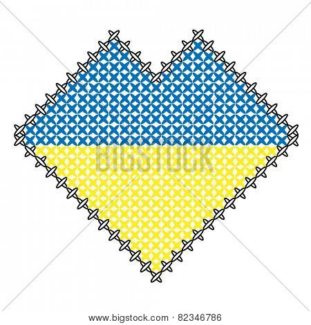 color heart like ukraine flag, like handmade cross-stitch good