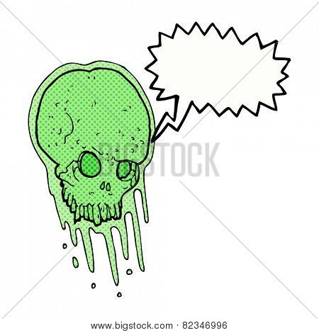 cartoon slimy skull with speech bubble