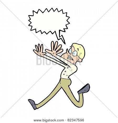 cartoon man running away with speech bubble
