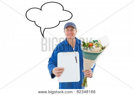 Happy flower delivery man showing clipboard against speech bubble