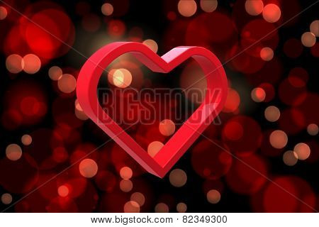 Red love heart against red glowing dots on black