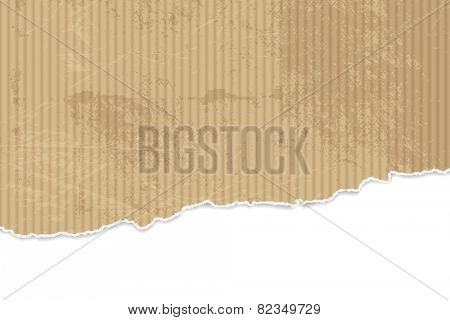 Torn paper background - corrugated cardboard texture with ripped edges