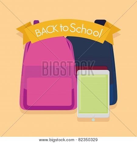 a pair of bags a cellphone and a ribbon with text on a colored background