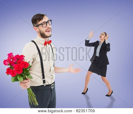 Angry businesswoman gesturing against purple vignette