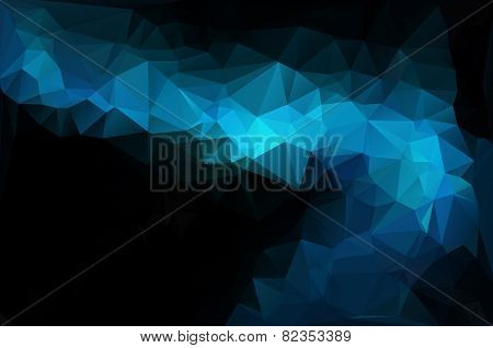 Blue Black Polygonal Mosaic Background, Vector Illustration,  Creative  Business Design Templates