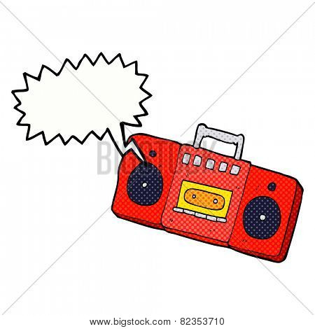 cartoon radio cassette player with speech bubble