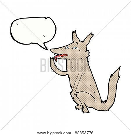 cartoon wolf licking paw with speech bubble