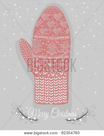 Cute Christmas Mitten With Hearts And Christmas Trees Ornaments