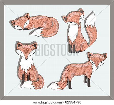 Vector Set Of Cute Little Fox. Adorable Forest Animals.