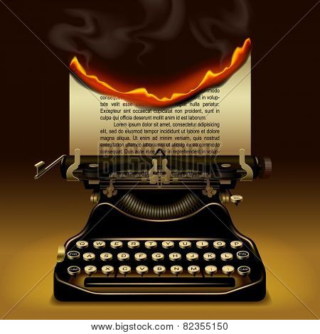 Od typewriter with a burning paper