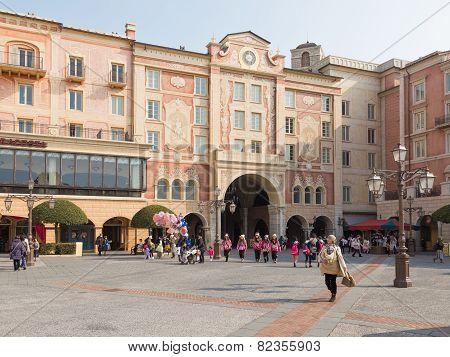 Happy People Walk In Disney Land