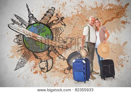 Happy couple ready to go on holiday against world map with compass showing north america