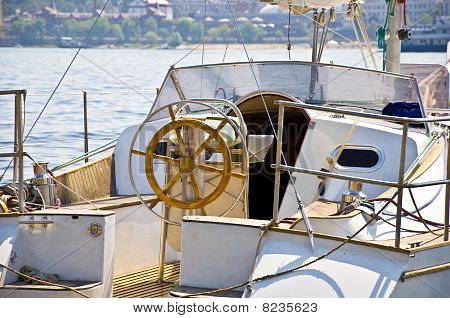 Foods yachts and steering wheel