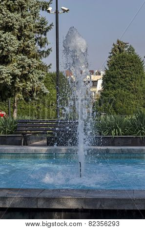 Fountain at garden in Ruse town