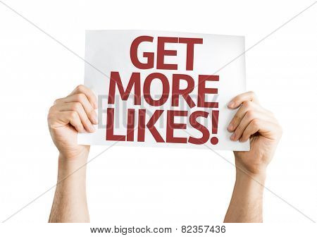 Get More Likes card isolated on white background