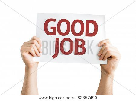 Good Job card isolated on white background