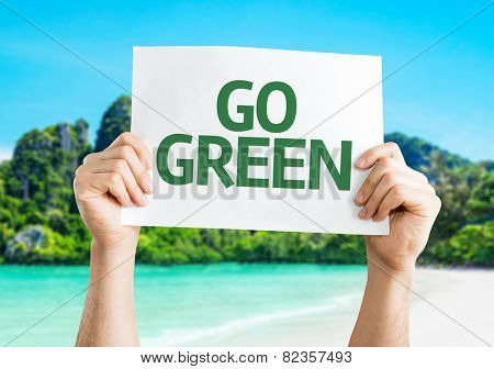 Go Green card with beach background