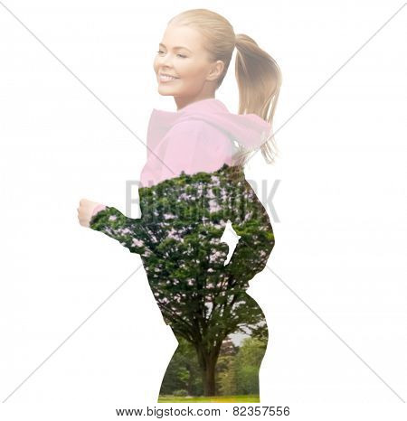 people, sport, fitness, slimming and double exposure concept - happy woman running or jogging over white background