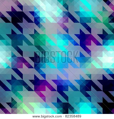 Houndstooth pattern on blue geometric background.