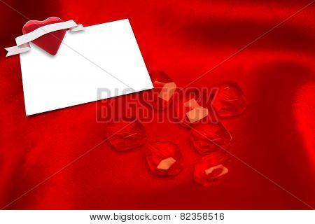 Rubies against white card