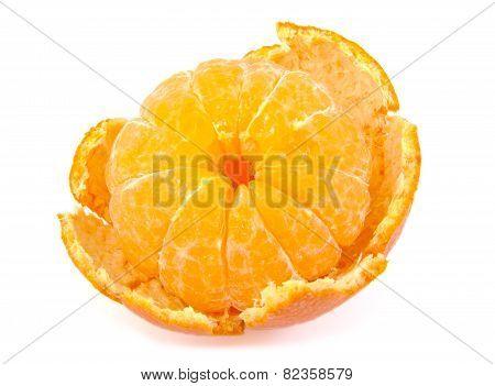 Single peeled tangerine, orange fruit, citrus on white background