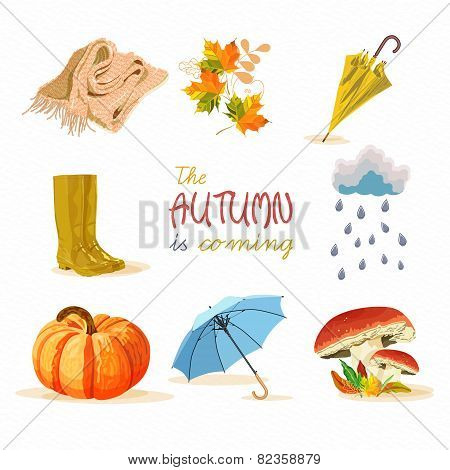 Vector autumn doodles card